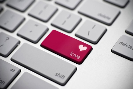 Keyboard showing love heart
