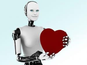 Robot holding heart